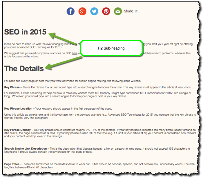 Advanced SEO 2015 Subheadings