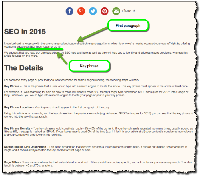 Advanced SEO 2015 Key Phrase