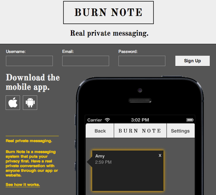 Burn Note - free encrypted email service   Real Private Messaging