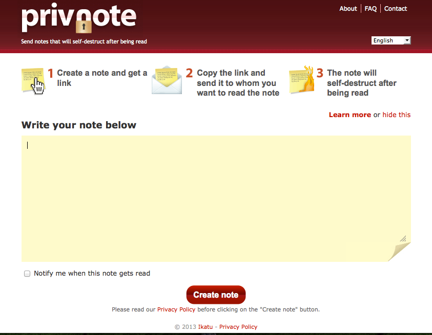 Privnote - Send notes that will selfdestruct after being read