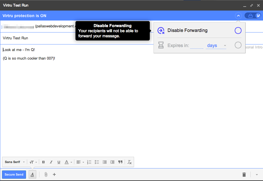 Virtru Encrypted Email Options - Disable Email Forwarding