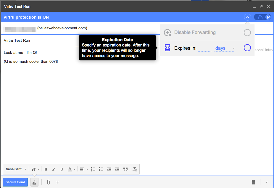 Virtru Encrypted Email Options - Message Expiration Date