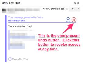 Virtru Encrypted Email - Revoke Access