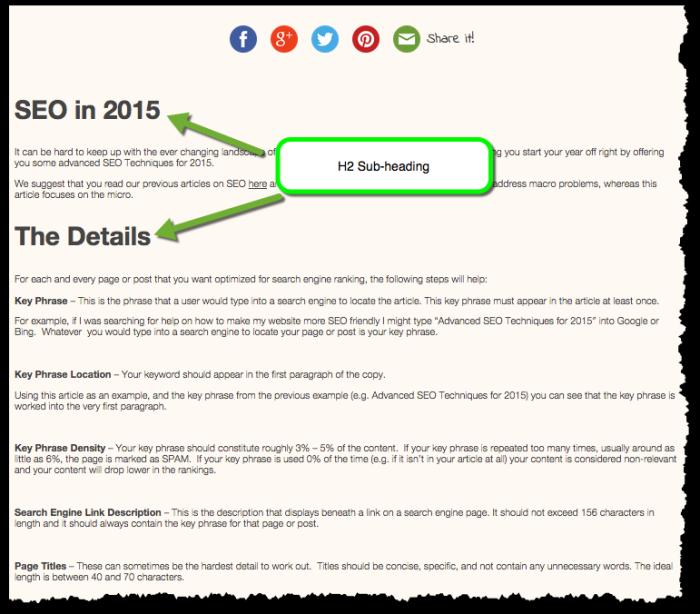 Advanced SEO 2015 Subheadings