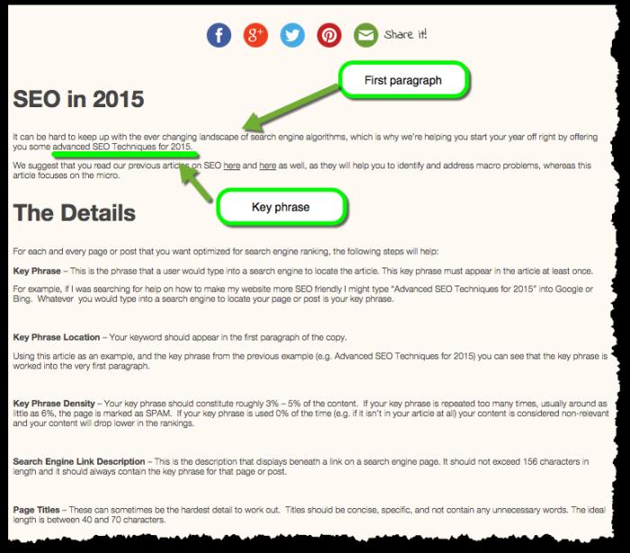 Advanced SEO 2015 Key Phrase